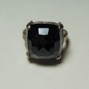 Sterling Silver Faceted Black Onyx Ring